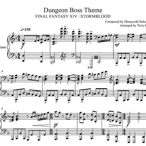 Final Fantasy XIV : STORMBLOOD dungeon Boss theme for piano solo Arr.by Terry:D