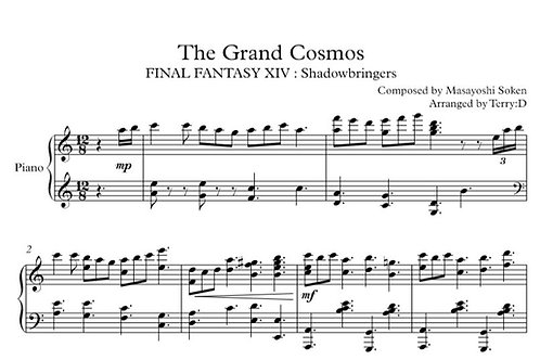 "FFXIV -""The Grand Cosmos"" for piano solo (Arr.by Terry:D) Sheetmusic+MIDI"