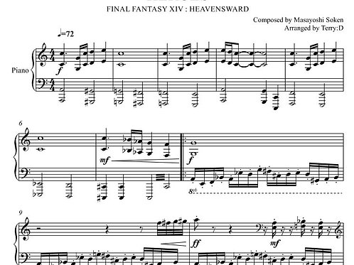"""""""Heroes(Arr.by Terry:D)"""" for piano solo from FFXIV : HEAVENSWARD"""