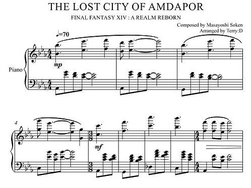 """""""The Lost City of Amdapor(Arr.by Terry:D)"""" for Piano solo from Final Fantasy XIV"""