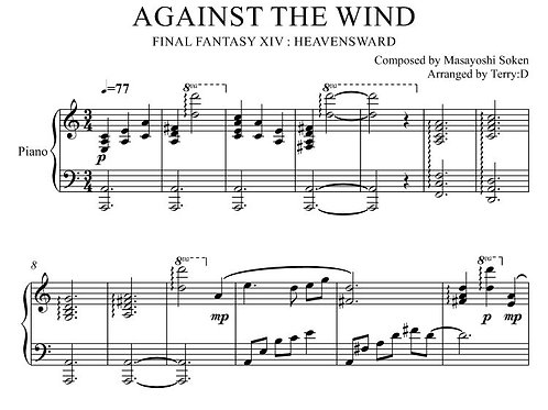 """Against the Wind(Arr.by Terry:D)"" for Piano solo from Final Fantasy XIV"