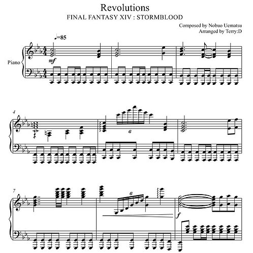 Final Fantasy XIV : STORMBLOOD ( REVOLUTIONS ) for piano solo (Arr.by Terry:D)