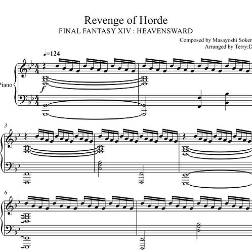 FFXIV-Revenge of the Horde(Arr.by Terry:D) sheetmusic+MIDI