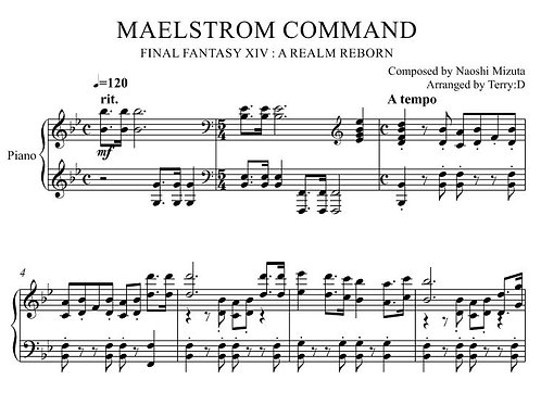 """Maelstrom Command(Arr.by Terry:D)"" for piano solo from Final Fantasy XIV"