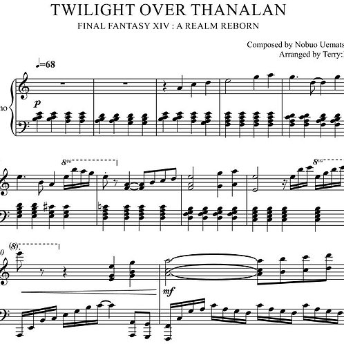 """Twilight Over Thanalan(Arr.by Terry:D)""for Piano(MID+sheetmusic)"