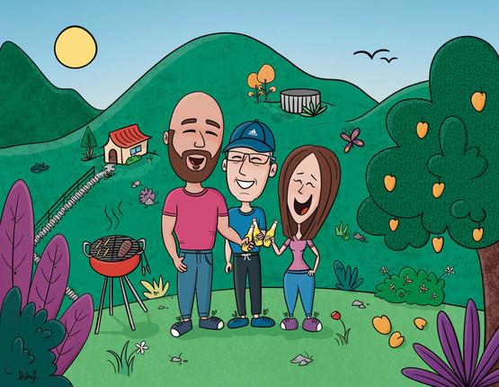 Ilustración personalizada de familia en la montaña