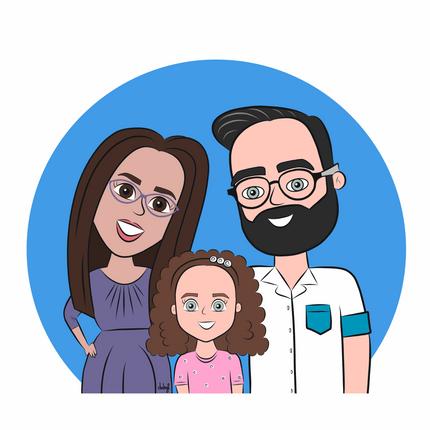 Ilustración personalizada estilo cartoon de familia