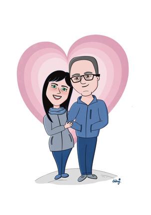 Ilustración personalizada de aniversario de bodas