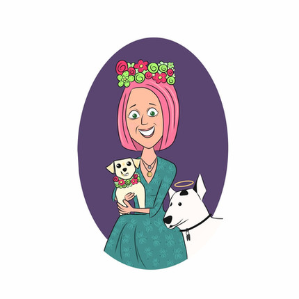 Ilustración personalizada de mujer con sus mascotas