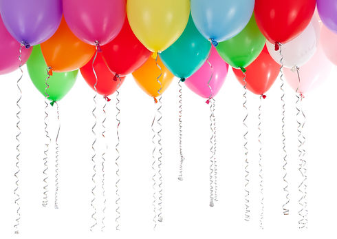 colorful balloons isolated on white back