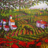 Italian Vineyards and Poppies
