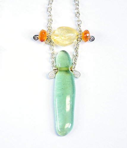 SS Republic Glass With Citrine Necklace