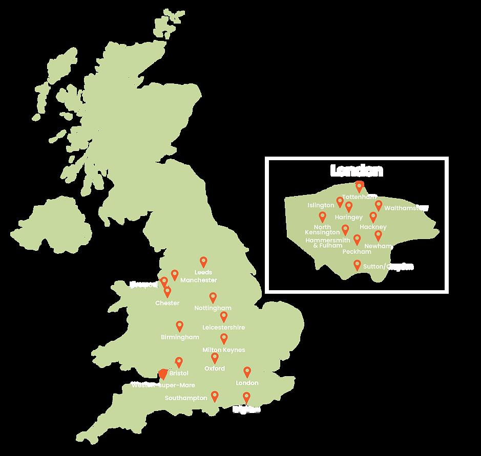 Partners, regions, social immobility, deprivation, mentoring, community, Royal National Children's SpringBoard Foundation, schools, bursary, inclusion, map