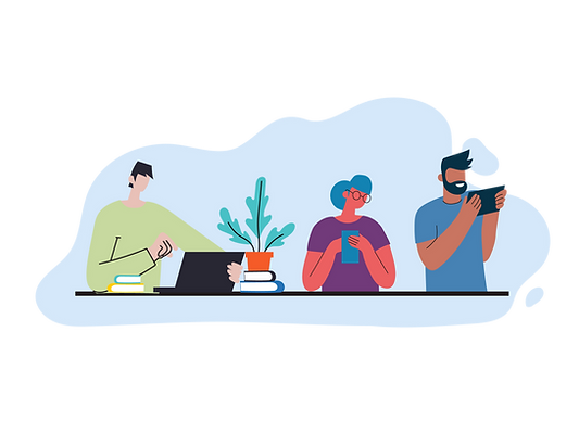 Man, laptop, houseplant, books, woman with glasses on mobile phone, man with tablet, Royal National Children's SpringBoard Foundation, social mobility, AmazonSmile