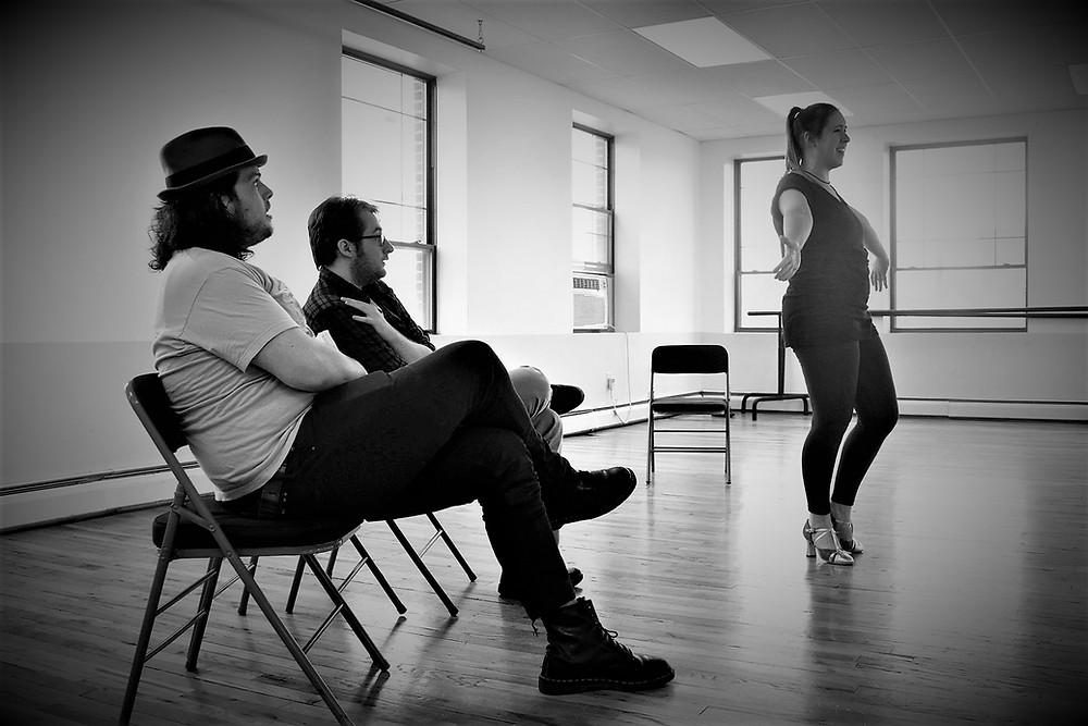 Mat Gaska, Jamie Cook and Janna Kucera rehearsing