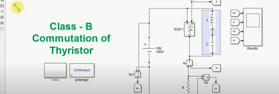 Class B Commutation of Thyristor | Self LC resonance | MATLAB Simulation
