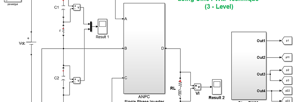 1-Phase ANPC Inverter (3-Level Output) with Sine PWM Controlling Techniques