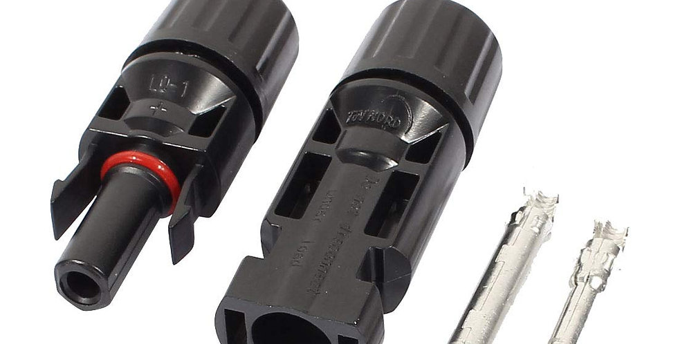 Solar MC4 Connectors Male + Female with 2 Pin for 4 to 6 sq.mm Wire - Black