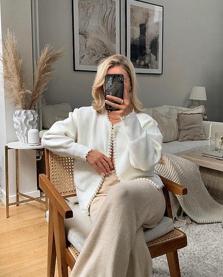Renée Pearl Trim Cardigan | Ivory