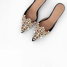 Diana Pearl Slippers Black Lace - Studio by Charlotte