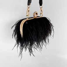 Aphrodite Feather Clutch Jet - Studio by Charlotte
