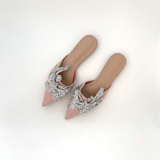 Elsa Sequin Flats | Blush Satin