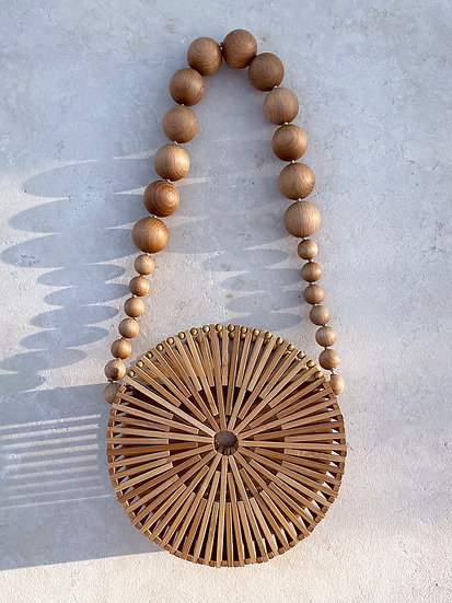 Sardinia Round Bamboo Bag | Natural