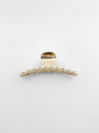 Isabella Hair Claw | Gold Pearl