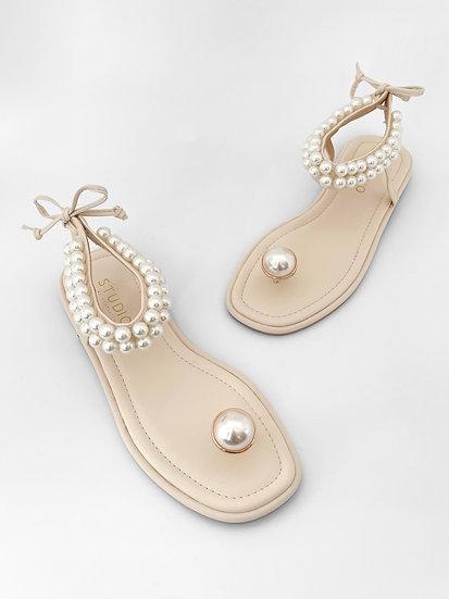 Margo Pearl Sandals   Buttercream