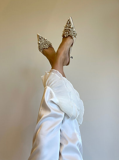 Diana Pearl Slippers | Ivory Lace