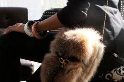 Upcycled fur shoulderbag