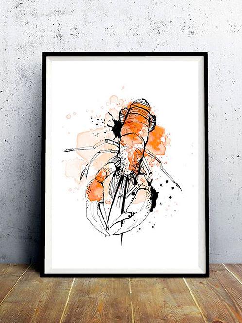 affiche homard orange et noire - décoration