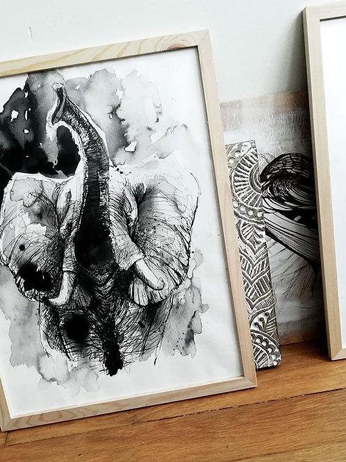 dessin d'art elephant - illustration silowane