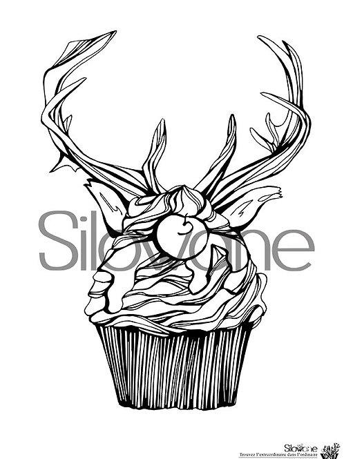 coloriage gâteau cupcake