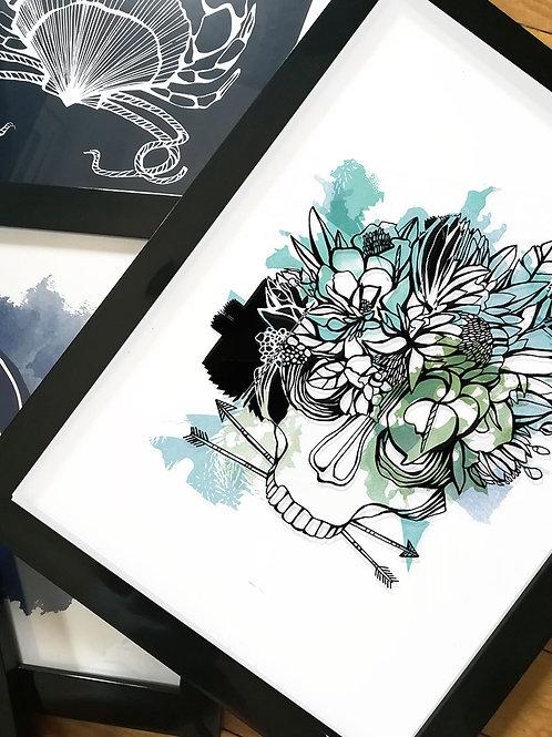affiche tete de mort couleur