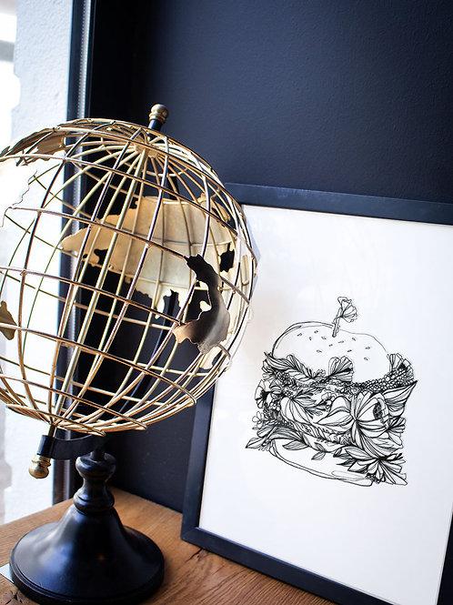 decoration cadre illustration burger
