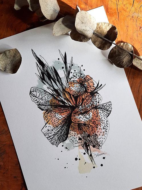 dessin fleur de lys affiche