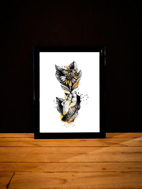 affiche marguerite - graphisme fleur silowane