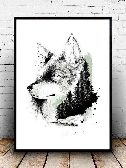 affiche loup et foret - illustration silowane