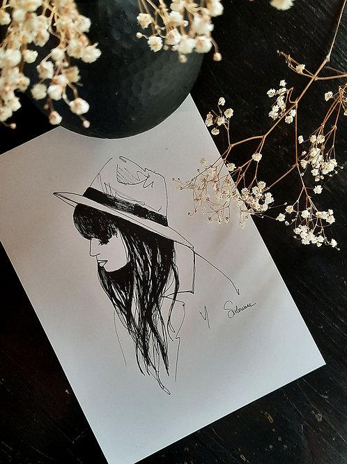dessin fille au chapeau