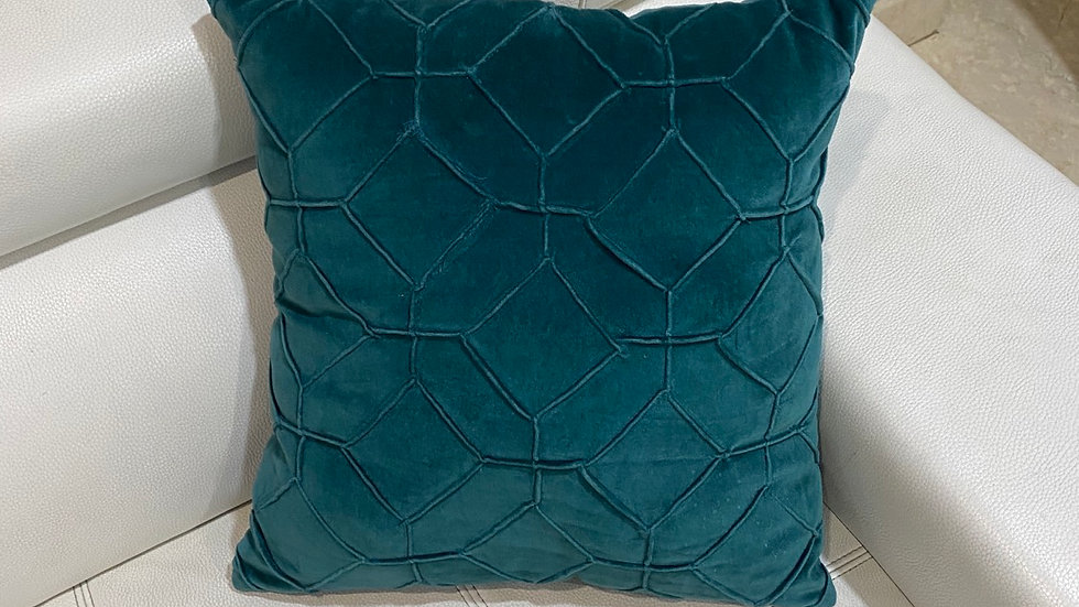 Colonial blue velvet pleated cushion cover