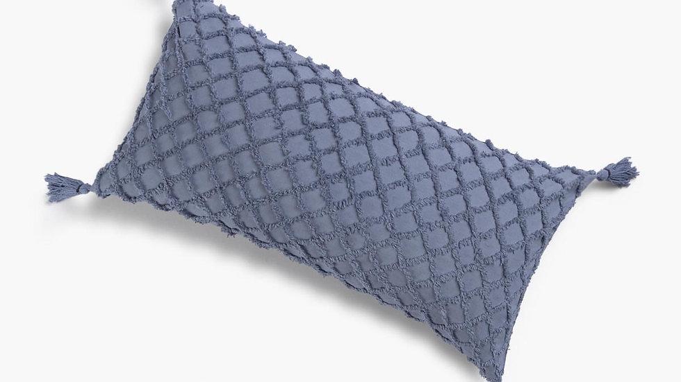 Blue tufted lumbar pillow