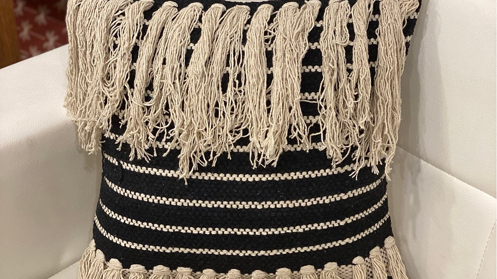Black and natural boho fringes pillow cover