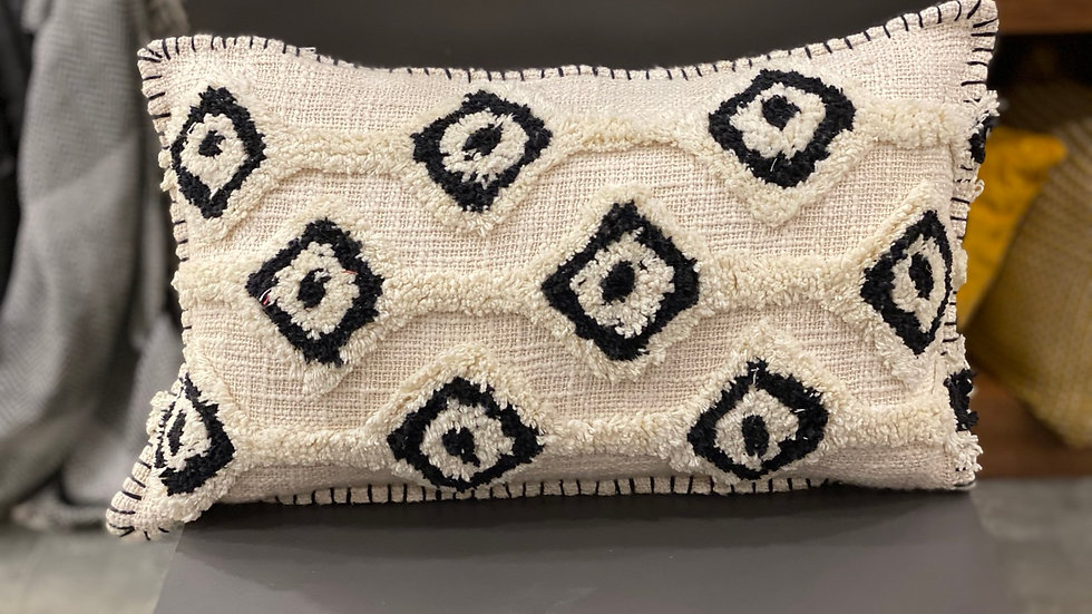Tufted black and white lumbar pillow cover