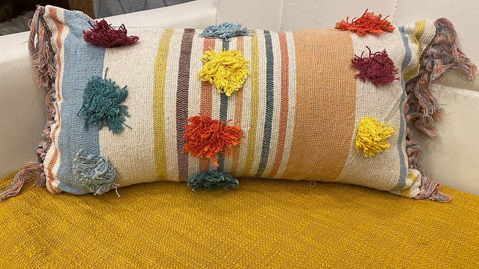 Boho multicolor fringe pillow  cover