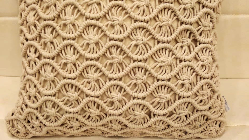 Macrame handwork knotted cushion cover