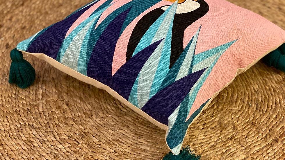 Flamingo printed cushion cover