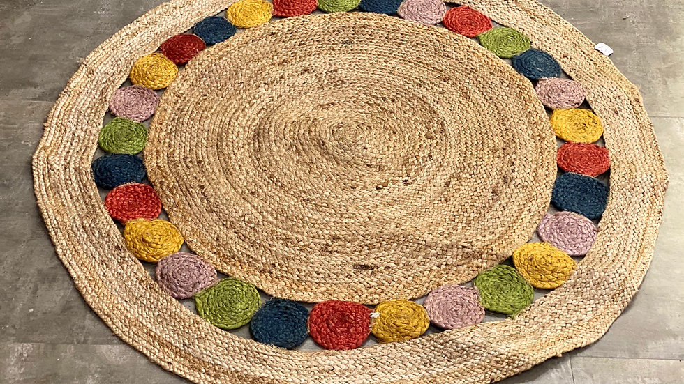 Round Jute rug with colourful circles