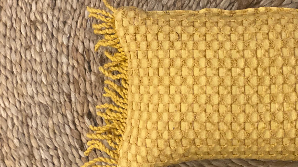 Honeycomb cushion cover with fringes (baby pillow)