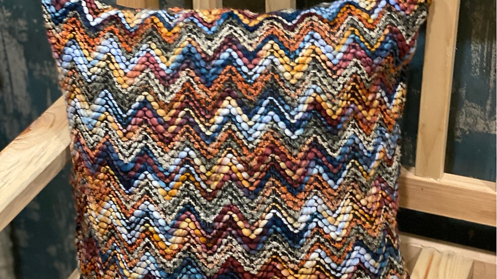 Multicolor zig zag cushion cover